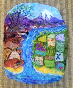 Storytelling mat with river and two landscapes